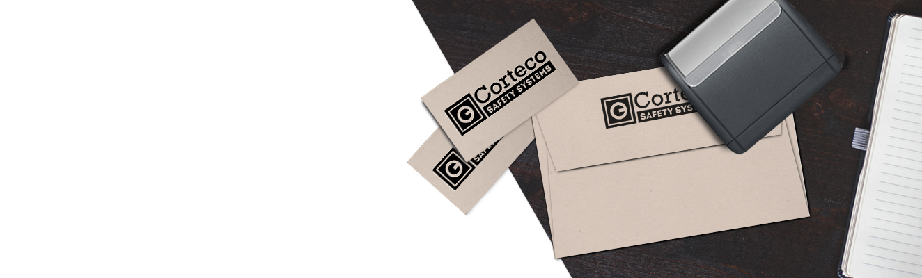 Cards and envelopes stamped by personalised, high quality stamp products.