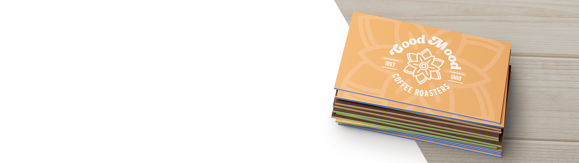 A stack of gorgeous, color filled sandwich business cards